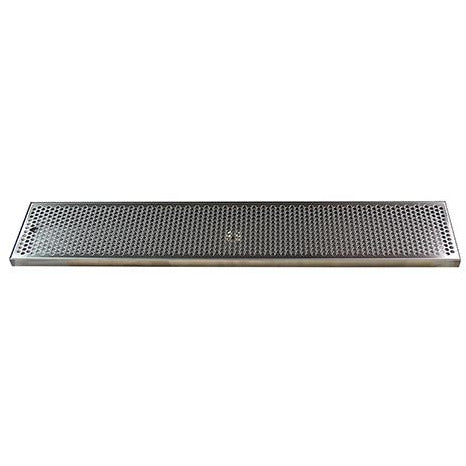 "36"" x 7"" Brushed Stainless Steel Drip Tray with Drain"