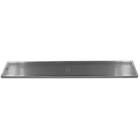 "45"" x 7"" Brushed Stainless Steel Drip Tray with Drain"