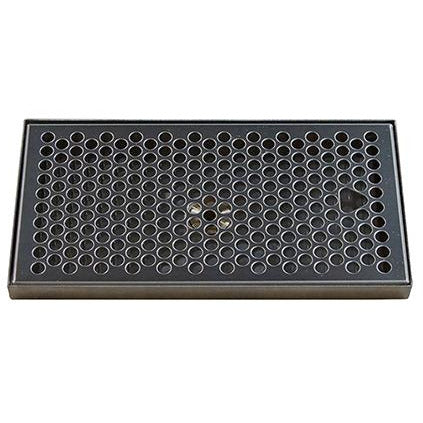 "10-3/8"" x 5-3/8"" Brushed Stainless Steel Drip Tray with Drain"