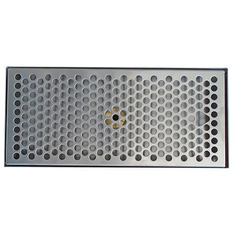 "15"" x 5-3/8"" Brushed Stainless Steel Drip Tray with Drain"