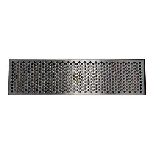 "20"" x 5-3/8"" Brushed Stainless Steel Drip Tray with Drain"