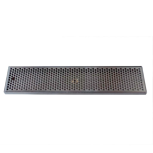 "24"" x 5-3/8"" Brushed Stainless Steel Drip Tray with Drain"