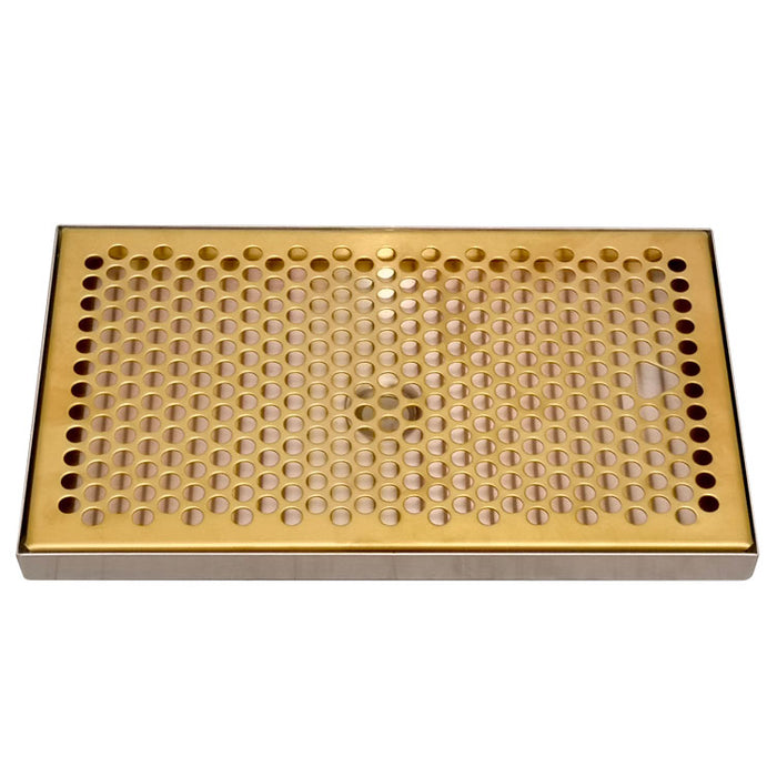 "12"" x 7"" Drip Tray with PVD Brass Insert & Brushed SS Tray Base & Drain"