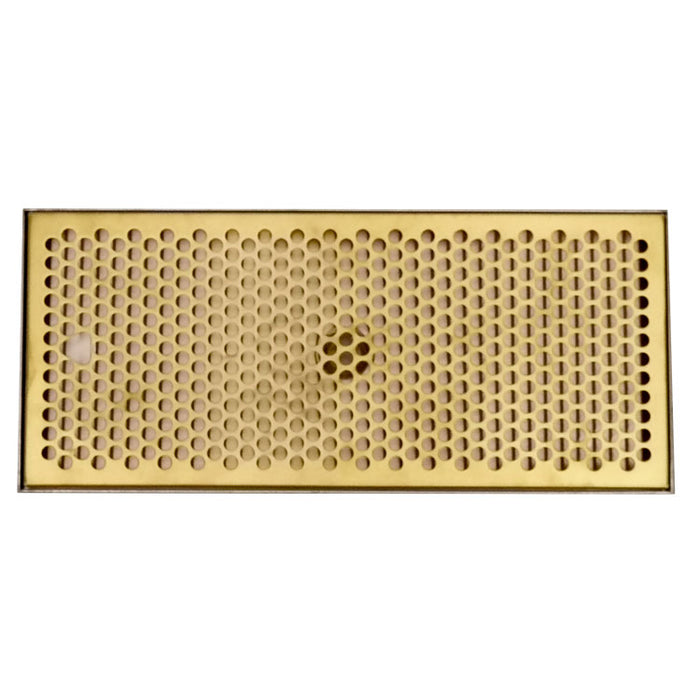 "16"" x 7"" Drip Tray with PVD Brass Insert & Brushed SS Tray Base & Drain"