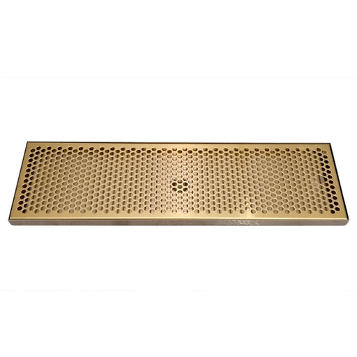 "24"" x 7"" Drip Tray with PVD Brass Insert & Brushed SS Tray Base & Drain"