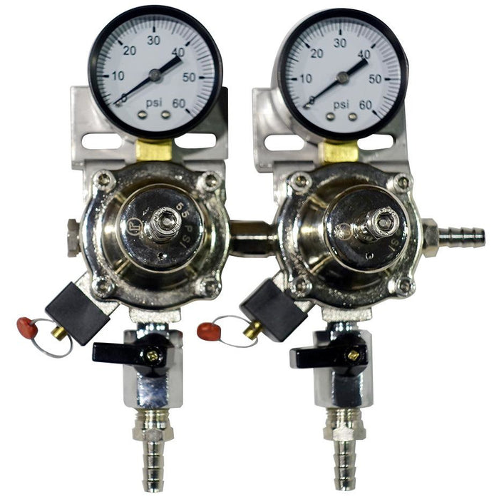 Premium Metal 2 Pressure 60lb Secondary Regulator with Barbed Shut-Offs