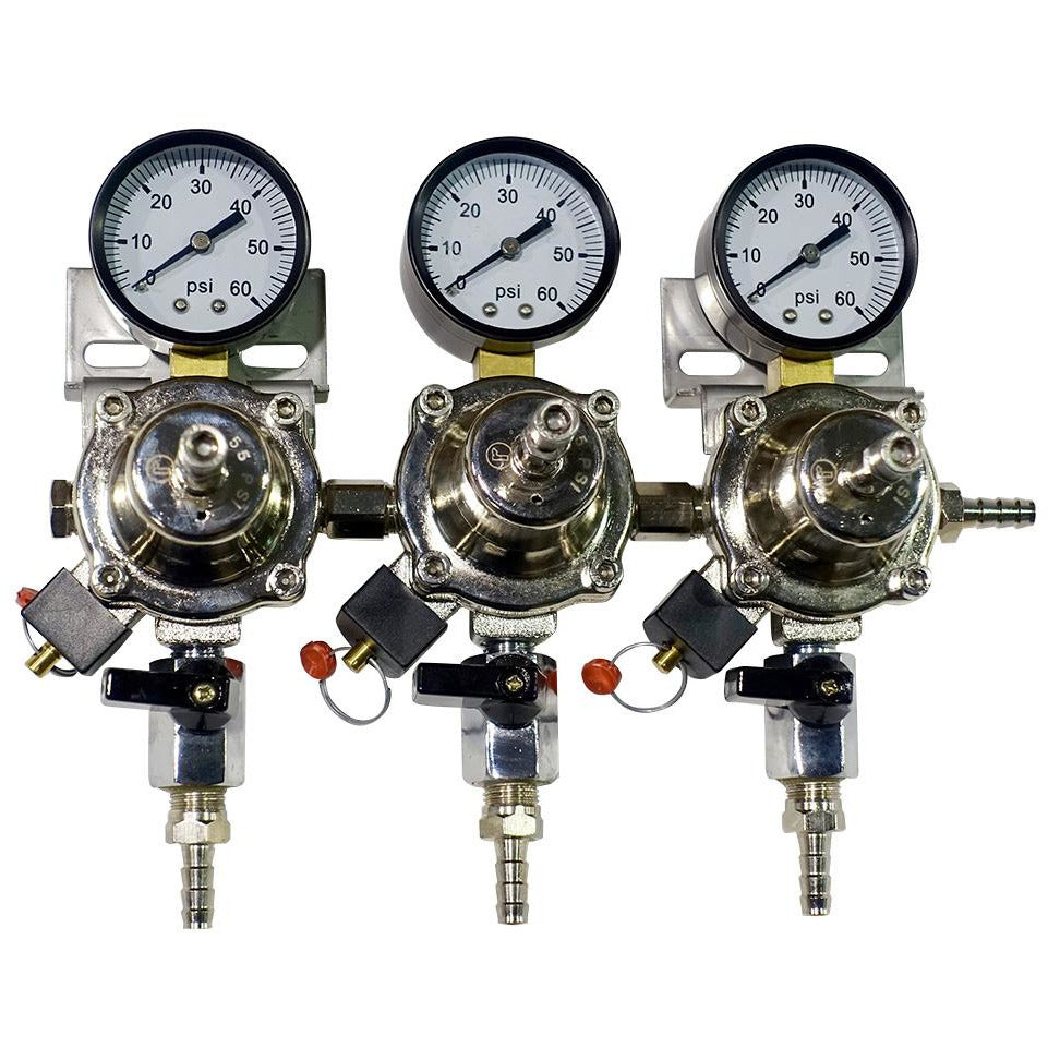 Premium Metal 3 Pressure 60lb Secondary Regulator with Barbed Shut-Offs
