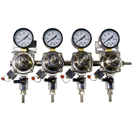Premium Metal 4 Pressure 60lb Secondary Regulator with Barbed Shut-Offs