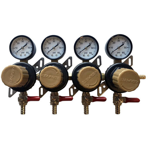 Taprite 4 Pressure 60lb Secondary Regulator with Barbed Shut-Offs