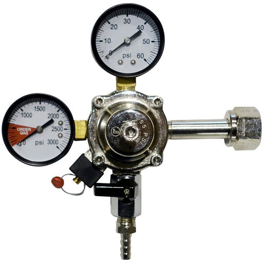 Premium Metal 60lb Co2 Primary Regulator with Barbed Shut-Off