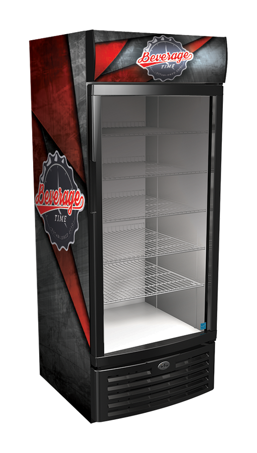 Vinyl Graphic Wraps on an Upright Glass Door Cooler
