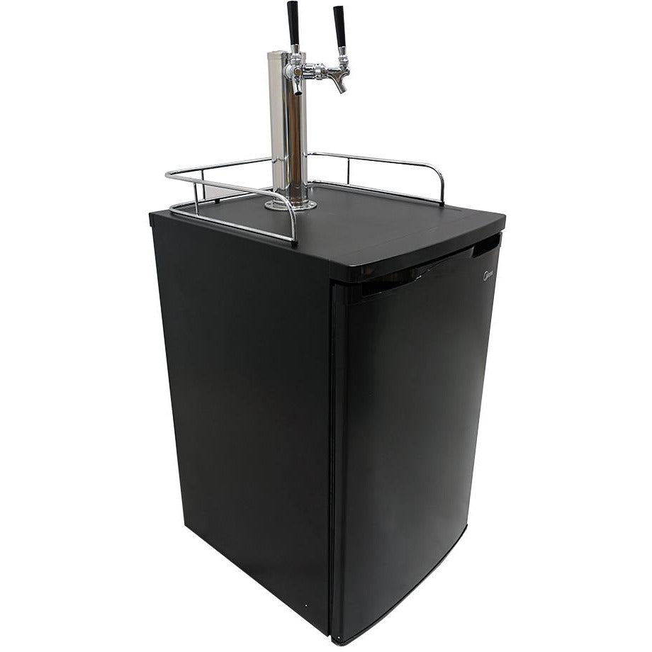 2 Tap Black Kegerator with Tapping Kit - No Tank