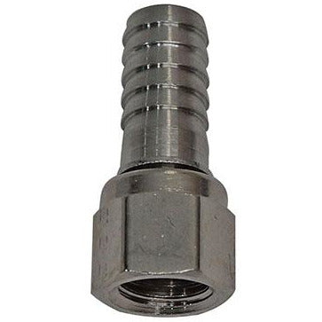"SS 1/4"" FFL Swivel Nut x 3/8"" Barbed Adapter"