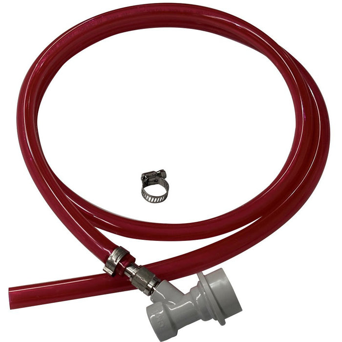 "5' of 5/16"" ID Red Vinyl Gas Line with Ball Lock Gas Fitting"