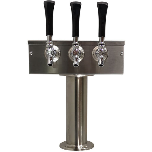 "Brushed 304SS 3 Tap Beer ""T"" Tower - 3"" Pedestal"