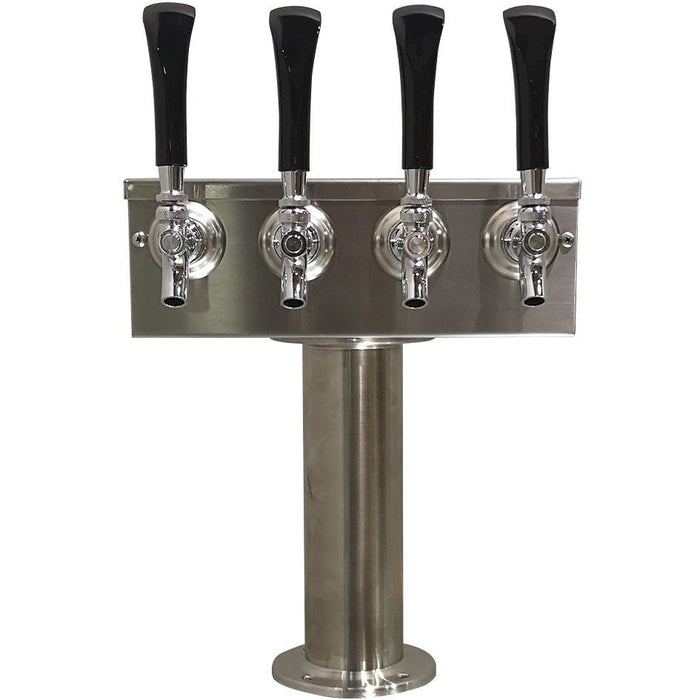 "Brushed 304SS 4 Tap Beer ""T"" Tower - 3"" Pedestal"