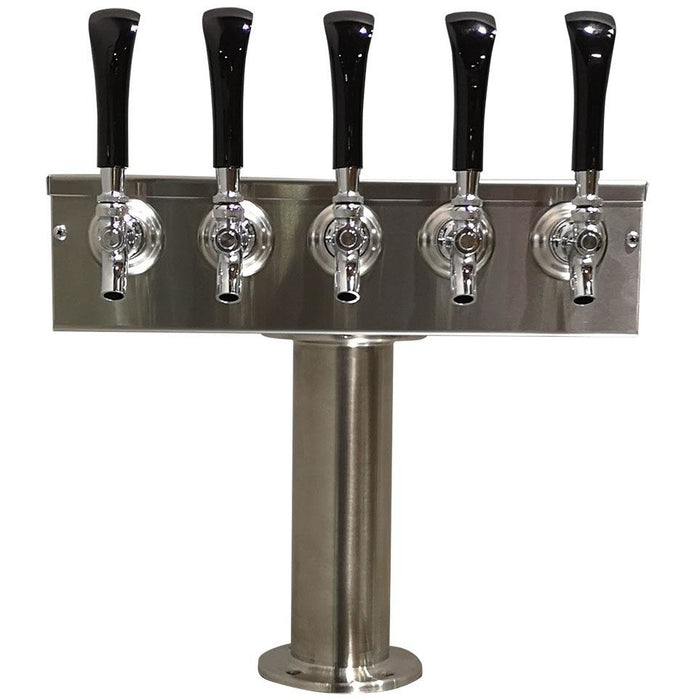 "Brushed 304SS 5 Tap Beer ""T"" Tower - 3"" Pedestal"