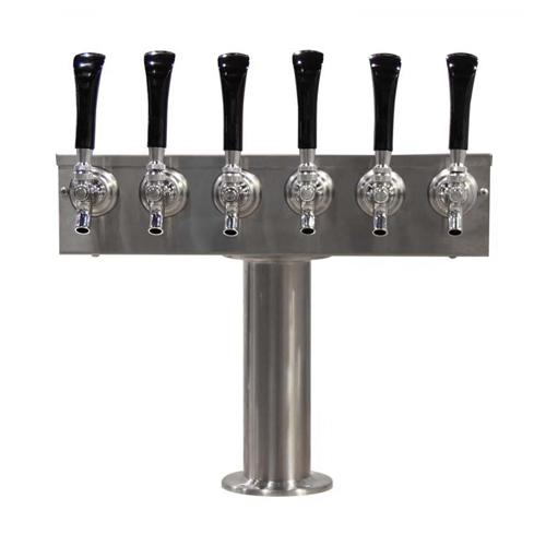 "Brushed 304SS 6 Tap Beer ""T"" Tower - 3"" Pedestal"