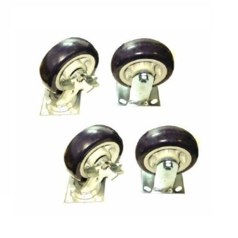 "Contender Brand, (2) Swivel (2) Rigid Casters 5""x2"" Poly Wheel (4""x4-1/2"" Plate) 800# ea(3200#)"