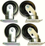 "Contender, Kingpinless Plate Caster 8""x2"" Wheel 4""x4-1/2"" Plate 1 6000# 2 Swivel 2 Rigid"