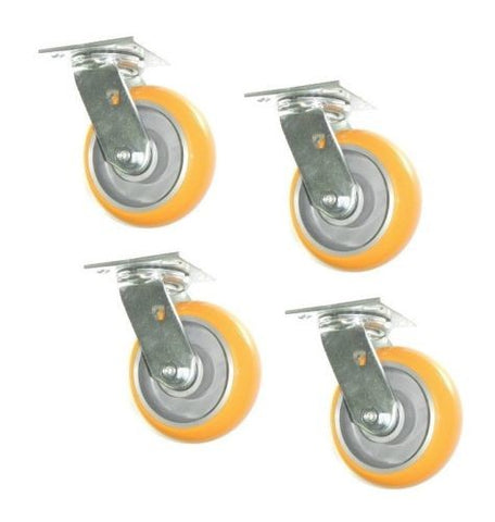 "Albion, Set of 4 Heavy Duty Swivel Casters with Poly on Aluminum 6"" x 2"" Wheels"