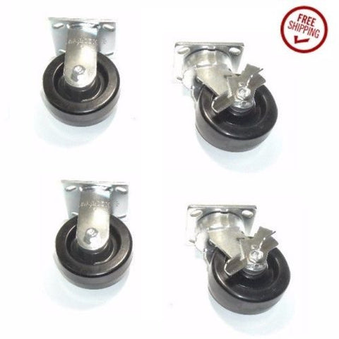 "Contender Brand, Set of 4 Albion Casters with 5""x2"" Hard Phenolic Wheel 1000# Cap ea   2 Rigid"