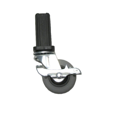 "L Series, Swivel Caster 2"" x 7/8"" Rubber Wheel with Brake with 15/16"" ID Square Socket"
