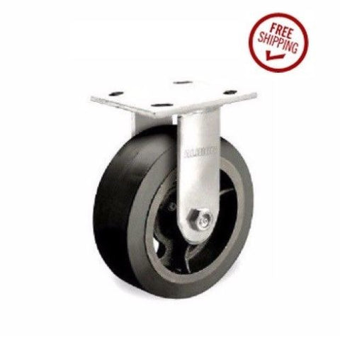 "Contender, Heavy Duty Rigid Caster 8""x2"" Rubber Wheel 4""x4-1/2"" Plate 600# Cap9-1/2"" OAH"