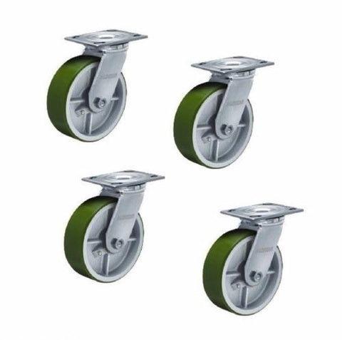 "Superior Brand, Swivel Caster 8""x2"" Poly on Steel Wheel 4""x4-1/2"" Plate 1250# Cap ea. 5000# (4)"
