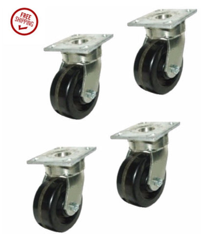 "Contender Brand, Set of 4 Heavy Duty Phenolic Swivel Casters with 4"" x 2"" Warehouse Wheels"