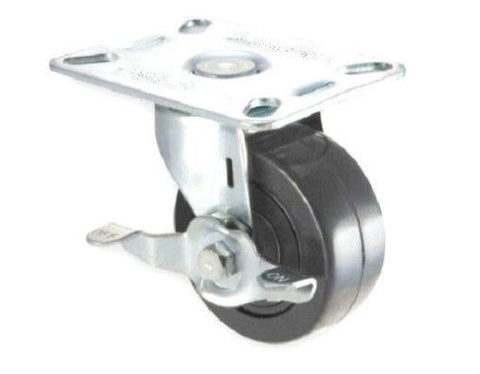 "Superior Brand, Swivel Plate Caster 2-1/2"" Hard Wheel (2-3/8""x3-5/8"" Plate) with Brake"