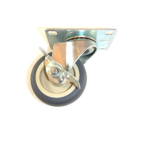 "Superior Brand, Swivel Plate Caster with 3"" Gray Soft Rubber Wheel with SLB / 100# Cap."