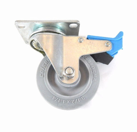 "Colson, Colson Swivel Plate Caster 3-1/2"" x 1-1/4"" Gray TPE Soft Wheel Directional Lock"