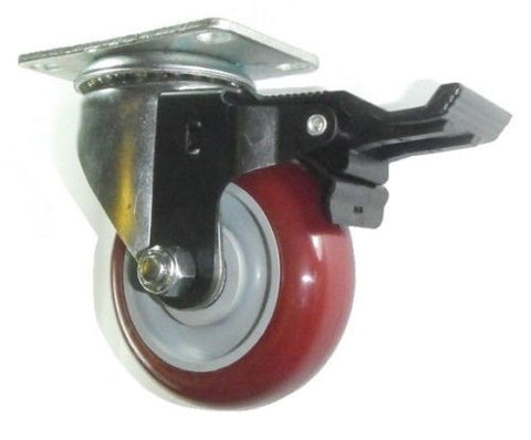 "Superior Brand, Swivel Plate Caster with 3-1/2"" Maroon Polyurethane Wheel and Posi-Lock Brake"