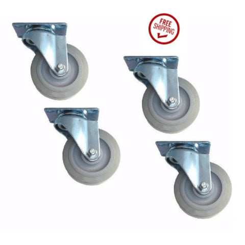 "Superior Brand, Pack of 4 Swivel Casters w/ Soft Gray Rubber Wheels 3-1/2"" x 1-1/4"" 2-3156-545"
