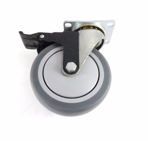 "Superior Brand, Swivel Plate Caster 5""x1-1/4"" Soft Wheel (2-1/2""x3-5/8"" Top) with Brake"