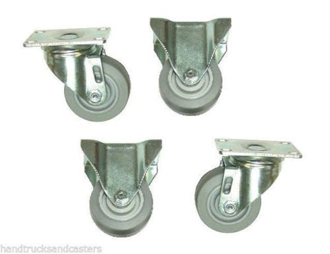 "Superior Brand, Set of 4 Casters w Soft Rubber 3"" Wheels for Furniture Dollies w Utility Cart"