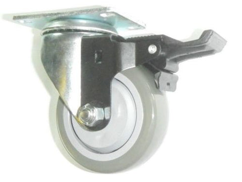 "Superior Brand, Swivel Plate Caster with 3-1/2"" Gray Polyurethane Wheel and Posi-Lock Brake"