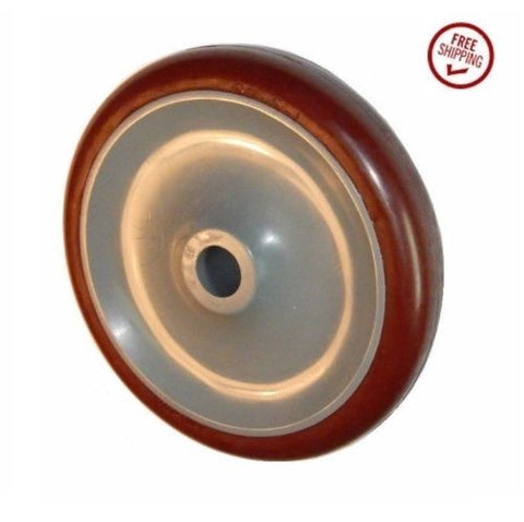 "Colson, (One) Colson 5"" x 7/8"" Polyurethane Wheel with 5/8"" ID Maroon Narrow Tread"