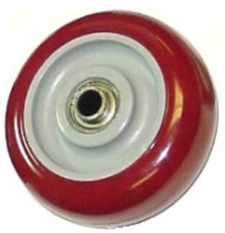 "Maroon on Gray Polyurethane Caster Wheel 4"" x 1-1/4"" with 3/8"" ID Ball Bearing"
