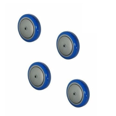 "Superior Brand, (4) Blue on Gray Polyurethane 5""x1-1/4"" Wheels w Ball Bearings and Thread Guards"