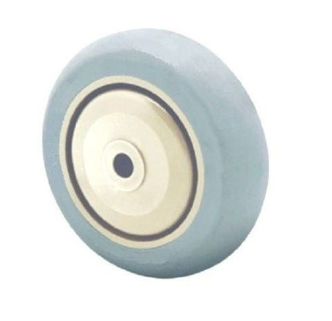 "Superior Brand, Durable 5"" x 1-1/4"" Soft Rubber Wheel w/ 3/8"" ID Gray200# Cap Floor Safe One"