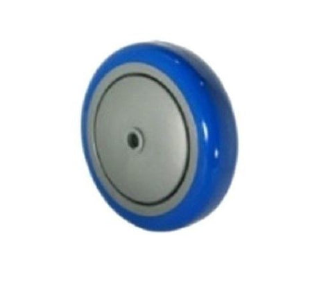"Superior Brand, Blue Polyurethane Wheel 4"" Diameter x 1-1/4"" Wide x 3/8"" ID with Thread Guards"