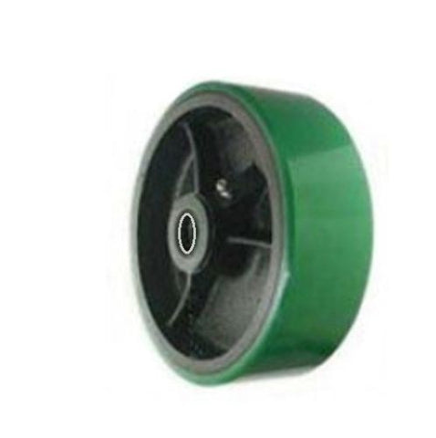 "Superior Brand, Green Polyurethane on Steel Heavy Duty Wheel 8"" x 2"" with 1/2"" ID Roller Bearing"