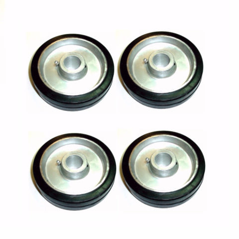 "Superior, Set of 4 Mold-on-Rubber on Aluminum 6"" x 1-1/2"" Wheels Plain Bore 1-3/16"" ID"