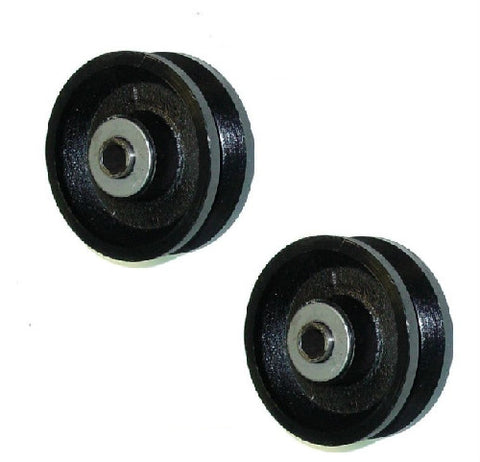 "DuraStar, Set of Two 4"" x 1-1/2"" Cast Iron V-Groove Wheel with 1/2"" ID Roller Bearing"