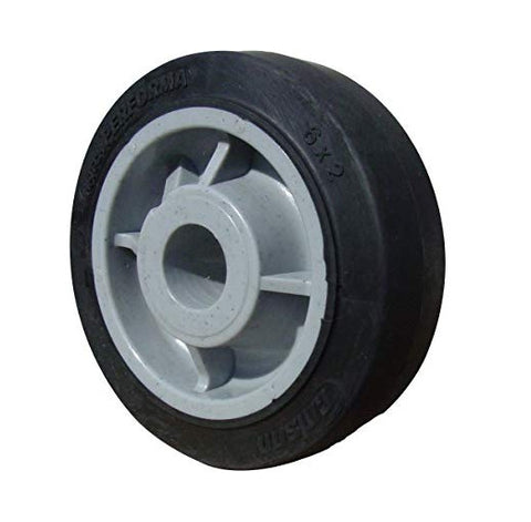 "Colson, Colson 6"" x 2"" Soft Rubber Wheel with 1/2"" ID Flat Black Soft Tread"