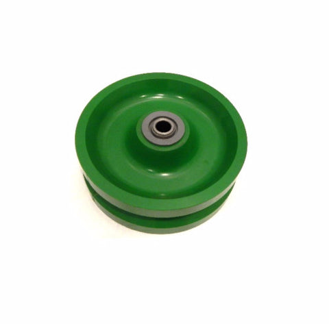 "Albion, V-Groove Solid Polyurethane Wheel 6"" x 2"" with 1/2"" ID Needle Roller Bearing"