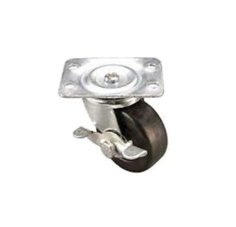 "Superior Brand, Swivel Plate Caster 2"" x 7/8"" Wheel (2-1/2"" x 1-7/8"" Top) with Brake"