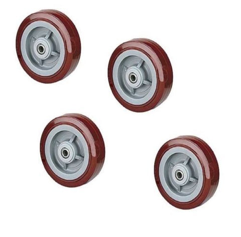 "PolyPro Brand, [4] DuraTek PolyPro 8"" x 2"" Polyurethane Wheel with 1/2"" ID Maroon 800# Cap."